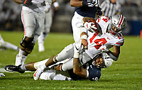STATE COLLEGE, PA - SEPTEMBER 29: Ohio State WR K.J. Hill, Jr. (14) is tackled by Penn State DE Yetur Gross-Matos (99) near the goal line. The Ohio State Buckeyes defeated the Penn State Nittany Lions 27-26 on September 29, 2018 at Beaver Stadium in State College, PA. (Photo by Randy Litzinger/Icon Sportswire)
