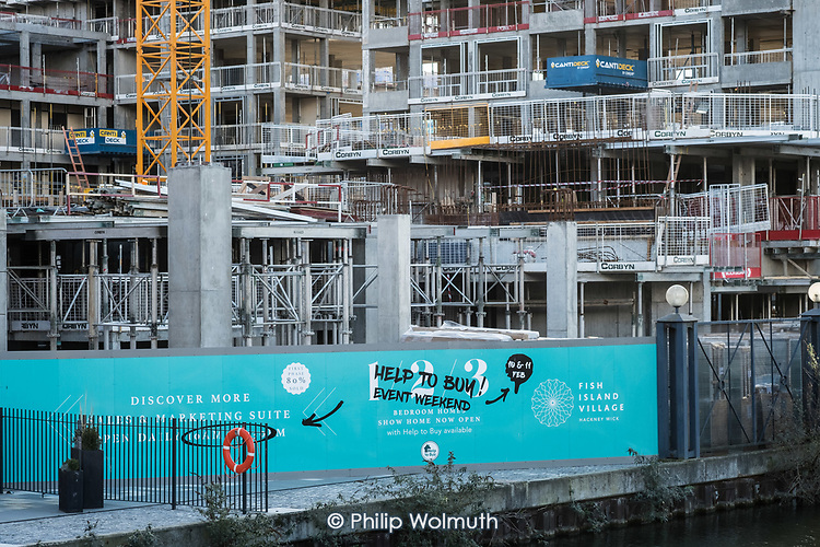 Help to Buy.  Construction of newbuild flats for private sale on Fish Island, Hackney Wick, a former light industrial area undergoing rapid gentrification.