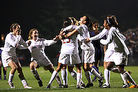 STANFORD, CA - NOVEMBER 28:  Kelley O'Hara, Camille Levin, Allison McCann, Ali Riley, Christen Press, Kristin Stannard, and Lindsay Taylor of the Stanford Cardinal during Stanford's 1-0 win in the NCAA Women's Soccer quarterfinals over the Portland Pilots on November 28, 2008 at Laird Q. Cagan Stadium in Stanford, California.