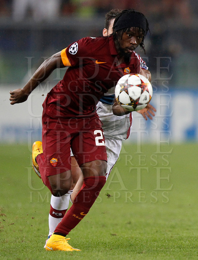 Calcio, Champions League, Gruppo E: Roma vs Bayern Monaco. Roma, stadio Olimpico, 21 ottobre 2014.<br /> Roma&rsquo;s Gervinho in action during the Group E Champions League football match between AS Roma and Bayern at Rome's Olympic stadium, 21 October 2014.<br /> UPDATE IMAGES PRESS/Isabella Bonotto