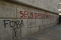 SAO PAULO,SP, 19 DE JUNHO DE 2013. ESTRAGOS NA PREFEITURA DURANT MANIFESTAÇÃO. Pixação no prédio da prefeitura no centro da capital paulista. FOTO ADRIANA SPACA/BRAZIL PHOTO PRESS