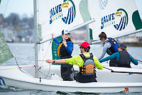 Salve Regina Sailing Team members: Crew Jennifer Ryan, '19, and Skipper Brian Baker,'18, alongside Crew Madeline Lark,'20, and Sam Shannon,'19, practice together in the Newpor Harbor.