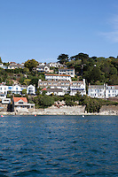 Looking towards houses on the coastline of St Mawes Bay, Cornwall