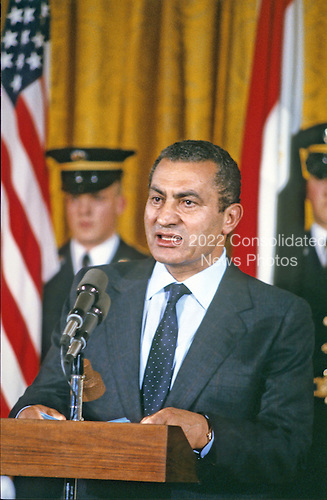 President Hosni Mubarak of Egypt makes remarks in the East Room of the White House in Washington, D.C. on February 14, 1984..Credit: Arnie Sachs / CNP