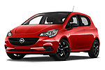 Stock pictures of low aggressive front three quarter view of 2018 Opel Corsa Black-Edition 5 Door Hatchback Low Aggressive