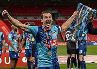 Wycombe Wanderers' Matthew Bloomfield celebrates <br /> <br /> Photographer Andrew Kearns/CameraSport<br /> <br /> Sky Bet League One Play Off Final - Oxford United v Wycombe Wanderers - Monday July 13th 2020 - Wembley Stadium - London<br /> <br /> World Copyright © 2020 CameraSport. All rights reserved. 43 Linden Ave. Countesthorpe. Leicester. England. LE8 5PG - Tel: +44 (0) 116 277 4147 - admin@camerasport.com - www.camerasport.com