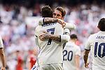 Real Madrid's Cristiano Ronaldo and Sergio Ramos celebrating a goal during La Liga match between Real Madrid and Sevilla FC at Santiago Bernabeu Stadium in Madrid, May 14, 2017. Spain.<br /> (ALTERPHOTOS/BorjaB.Hojas)