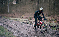 John Degenkolb (DEU/Trek-Segafredo) over the Bois de Wallers cobbles<br /> <br /> Team Trek-Segafredo during parcours recon of the 116th Paris-Roubaix 2018, 3 days prior to the race