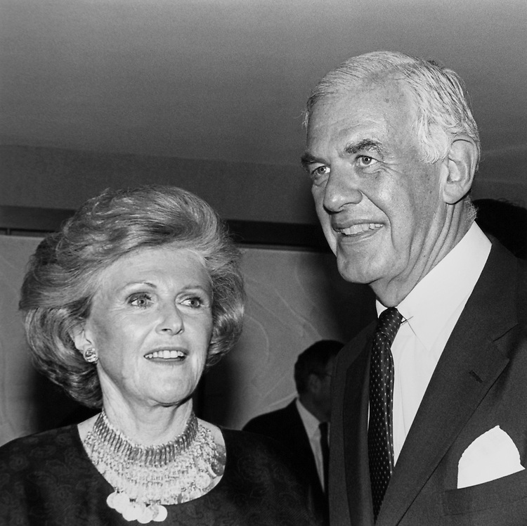 "Pamela Beryl Harriman, Diplomat and Speaker of the House Rep. Thomas Stephen ""Tom"" Foley, D-Wash. at 'Democrats for the '90's' fundraiser at the Kennedy Center. June 20, 1990 (Photo by Maureen Keating/CQ Roll Call)"