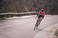Lars Bak (DEN/Lotto-Soudal) in limbo<br /> <br /> 76th Paris-Nice 2018<br /> stage 6: Sisteron &gt; Vence (198km)