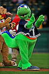19 June 2008: Vermont Lake Monsters mascot Champ performs his antics prior to a game against the Oneonta Tigers at historic Centennial Field in Burlington, Vermont. The Tigers defeated the Lake Monsters 13-8 in the rubber match of their three-game season opening series in Vermont...Mandatory Credit: Ed Wolfstein Photo
