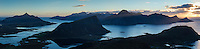 Panoramic view of mountain landscape from summit of Holandsmelen, Vestvagoy, Lofoten Islands, Norway
