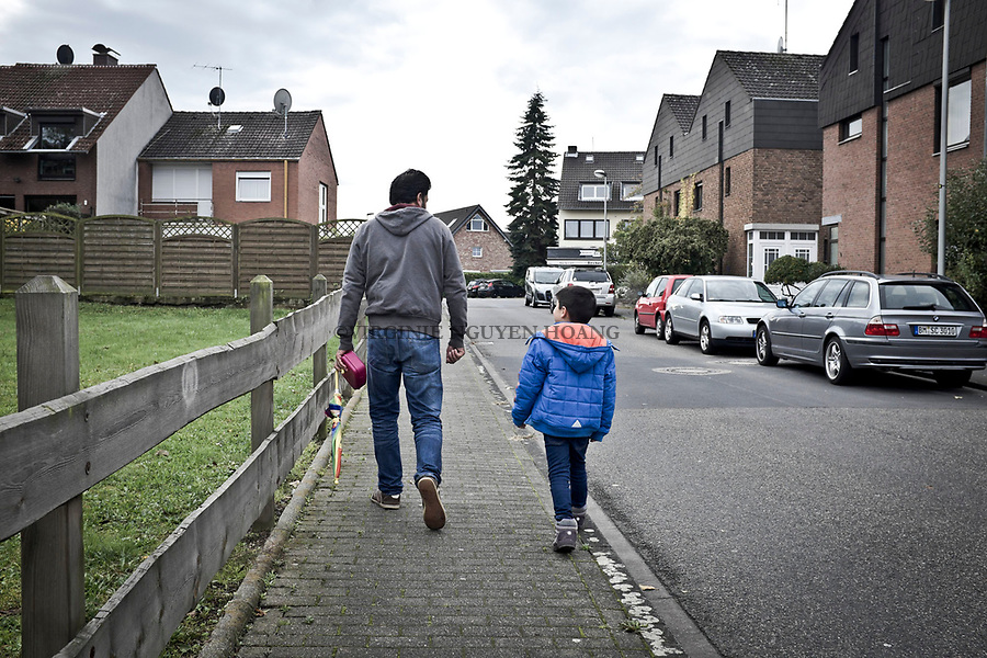 GERMANY, Pulheim: Abu Ali on the way back from the Kinder Garden where goes Mohammed.