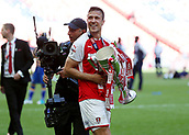 27th May 2018, Wembley Stadium, London, England;  EFL League 1 football, playoff final, Rotherham United versus Shrewsbury Town; Richard Wood of Rotherham United holds the EFL League 1 trophy