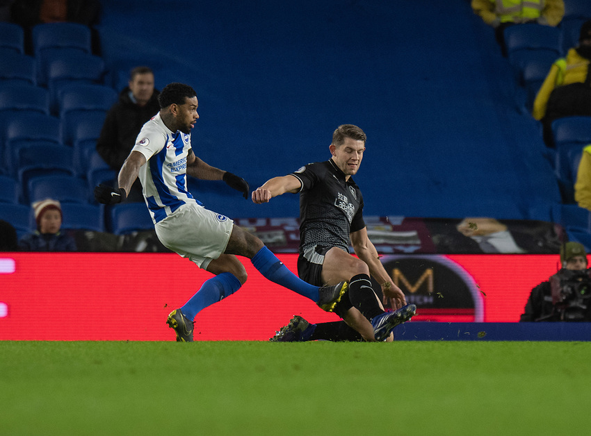 Brighton & Hove Albion's Jurgen Locadia (left) battles with Burnley's James Tarkowski (right) <br /> <br /> Photographer David Horton/CameraSport<br /> <br /> The Premier League - Brighton and Hove Albion v Burnley - Saturday 9th February 2019 - The Amex Stadium - Brighton<br /> <br /> World Copyright © 2019 CameraSport. All rights reserved. 43 Linden Ave. Countesthorpe. Leicester. England. LE8 5PG - Tel: +44 (0) 116 277 4147 - admin@camerasport.com - www.camerasport.com