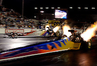 Apr 7, 2006; Las Vegas, NV, USA; NHRA Top Fuel driver Hillary Will in the Ken Black Racing dragster during qualifying for the Summitracing.com Nationals at Las Vegas Motor Speedway in Las Vegas, NV. Mandatory Credit: Mark J. Rebilas