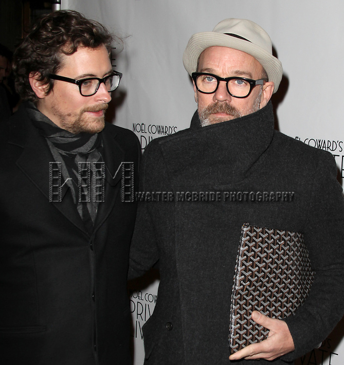 Thomas Dozol and Michael Stipe.attending the Opening Night Performance of 'Private Lives' at the Music Box Theatre in New York City on 11/17/2011.