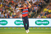 10th February 2018, Melbourne Cricket Ground, Melbourne, Australia; International Twenty20 Cricket, Australia versus England;  David Willey of England narrowly misses the ball whilst attempting to field