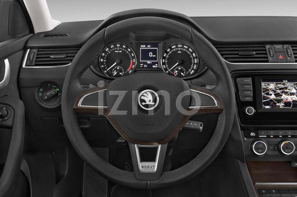 Car pictures of steering wheel view of a 2015 Skoda Octavia Scout 5 Door Wagon Steering Wheel