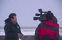 Television News Crew Interviews Monument Scientist Peter Frenzen at Johnston Ridge, Mt. St. Helens National Volcanic Monument, Washington, US, December 2004