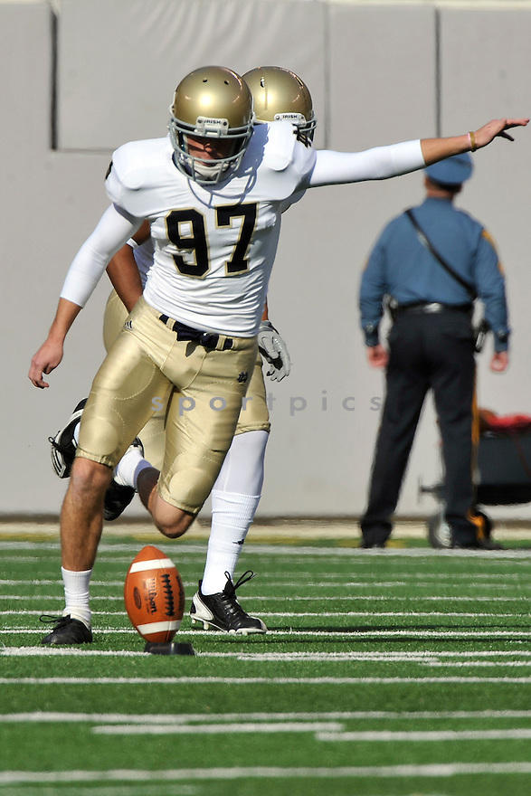 Oct 23, 2010; Notre Dame K  David Ruffer (97) during  game against Navy.Navy won 35-17 at  The New Meadowlands Stadium East Rutherford, NJ. Mandatory Credit: Tomasso DeRosa