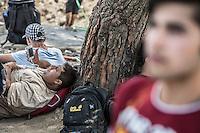 migranti accampati al confine greco-macedone  migrants at the Greeck -Macedonian border<br /> Macedonia 2015