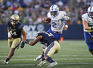 Annapolis, MD - October 7, 2017: Air Force Falcons quarterback Arion Worthman (2) tries to avoid a tackle during the game between Air Force and Navy at  Navy-Marine Corps Memorial Stadium in Annapolis, MD.   (Photo by Elliott Brown/Media Images International)