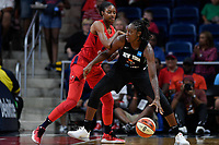 Washington, DC - August 25, 2019: New York Liberty center Tina Charles (31) drives to the basket against Washington Mystics forward LaToya Sanders (30) during second half action of game between the New York Liberty and the Washington Mystics at the Entertainment and Sports Arena in Washington, DC. The Mystics defeated New York 101-72. (Photo by Phil Peters/Media Images International)