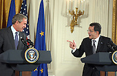 European Commission President Romano Prodi, right, makes a point to United States President George W. Bush, left, during their joint press conference in the East Room at the White House in Washington, DC on June 25, 2003.  They were joined by Prime Minister Constantine Simitis of Greece, the current European Union (EU) President..Credit: Ron Sachs / CNP