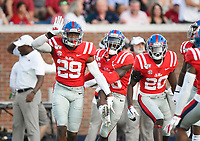 NWA Democrat-Gazette/CHARLIE KAIJO Ole Miss defensive back Armani Linton (29) reacts after a score during the first half of a football game, Saturday, September 7, 2019 at Vaught-Hemingway Stadium in Oxford, Miss.