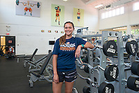 "Brachelle Nueku '17 is a Kinesiology major at Oxy. She's not waiting for grad school to conduct original research. Her work this summer is being done in partnership with our Undergraduate Research Center's Summer Research Program. Photographed in the Alumni Gym and in Jack Kemp Stadium June 21, 2016.<br /> <br /> ""The main focus is just seeing the long-term effects of what your elementary playground looks like and how that affects your physical activity later on in life. <br /> We did our baseline testing last semester by measuring students' physical activity levels during recess and lunch breaks. Our hypothesis is that [playgrounds with grass] will increase kids' physical activity levels. There's never been a long-term study for that.""<br /> <br /> https://www.instagram.com/p/BHh_jfXAD6d/?taken-by=occidentalcollege<br /> (Photo by Marc Campos, Occidental College Photographer)"