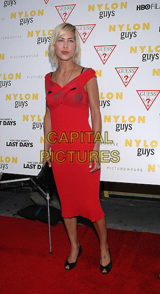 "NICOLE VICIUS.The premiere of the new film, ""Last Days"".New York, 19th July 2005.full length full-length red dress black heels open toe.Ref: Patti Ouderkirk.www.capitalpictures.com.sales@capitalpictures.com.© Capital Pictures."
