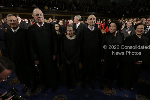 From left, Chief Justice of the United States John Roberts and Associate Justices Anthony Kennedy, Ruth Bader Ginsburg, Stephen Breyer, Sonia Sotomayor and Elena Kagan await the start of U.S. President Barack Obama's State of the Union address during a joint session of Congress on Capitol Hill in Washington, DC on February 12, 2103.     .Credit: Charles Dharapak / Pool via CNP