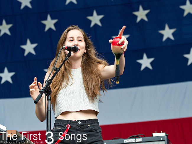 Alana Haim of Haim performs during the 2013 Budweiser Made in America Festival in Philadelphia, Pennsylvania.