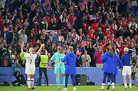 LE HAVRE, FRANCE - JUNE 20: United States fans during a 2019 FIFA Women's World Cup France group F match between the United States and Sweden at Stade Océane on June 20, 2019 in Le Havre, France.