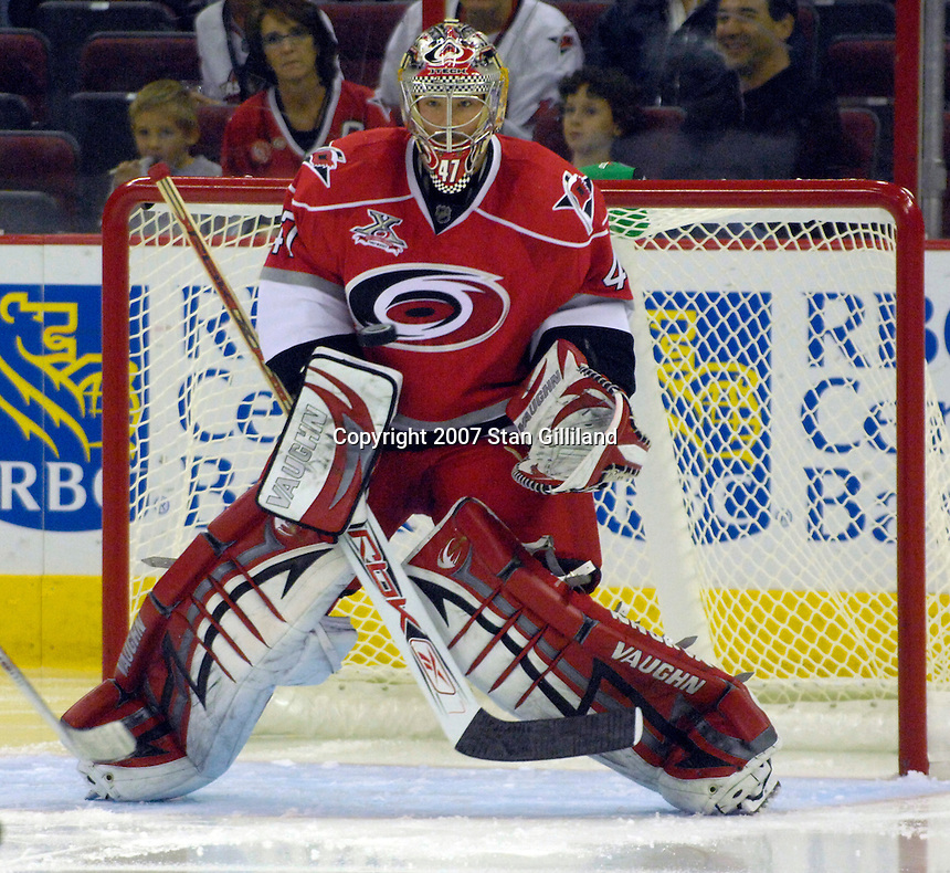 Carolina Hurricanes goalie John Grahame watches the puck during their game against Montreal Friday, Oct. 26, 2007 in Raleigh, NC. The Canadiens won 7-4.