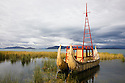Bolivia, Altiplano, reed boat on Lake Titicaca