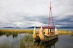 Bolivia, Altiplano, reed boat on Lake Titicaca