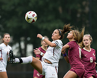 Newton, Massachusetts - September 23, 2018: NCAA Division I. Boston College (white) defeated Florida State University (garnet), 2-1, at Newton Campus Soccer Field.