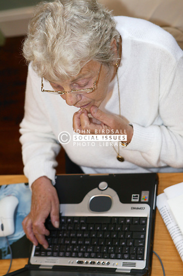Woman at an over 60s computer training class; the Sybil Levin Centre; Age Concern; Nottingham,