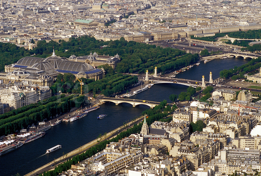Paris, Ile de France, France, Europe, Aerial view of the city of Paris and the Grand Palais along the Seine River looking Northeast from the Eiffel Tower.
