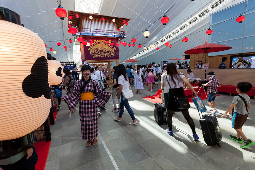 A traditional funfair for kids during the Edo festival at Haneda International Airport terminal, Tokyo, Japan. Friday August 26th 2016. The 3 day festival runs from August 26th to August 28th at Tokyo's second International airport. Actors dressed as samurai, geisha and ninja will greet passengers and visitors to the terminal and put on shows and parades of traditional music and dance. Haneda International airport has an Edo theme. Edo is the old name for Tokyo in the time of the samurai