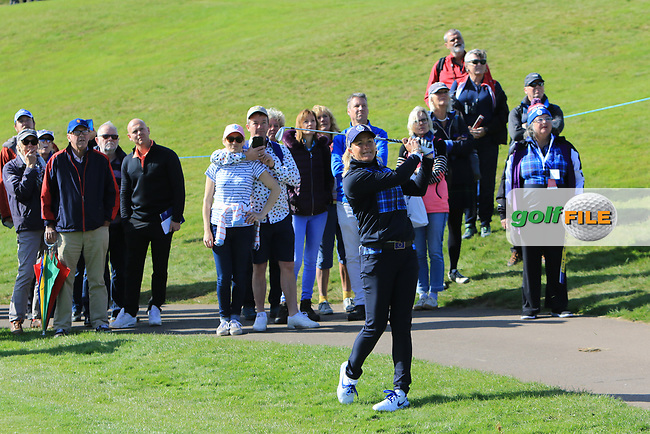 Suzann Pettersen Team Europe on the 7th during Day 1 Fourball at the Solheim Cup 2019, Gleneagles Golf CLub, Auchterarder, Perthshire, Scotland. 13/09/2019.<br /> Picture Thos Caffrey / Golffile.ie<br /> <br /> All photo usage must carry mandatory copyright credit (© Golffile | Thos Caffrey)
