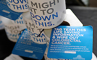 """Signs, fans and promotional items for colon cancer awareness were distributed Sunday at Fluor Field at the West End for the """"Drive Out Colon Cancer"""" Greenville Drive game sponsored by BlueCross BlueShield of South Carolina. The Drive lost to intrastate rival Charleston RiverDogs, 7-5. (Tom Priddy/Four Seam Images)"""