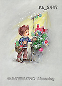 Interlitho, CHRISTMAS SANTA, SNOWMAN, nostalgic, paintings, boy, basket, branch(KL2447,#X#) Weihnachten, nostalgisch, Navidad, nostálgico, illustrations, pinturas