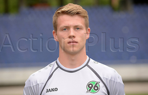 11.07.2013. Hannover, Germany.  Goalie Konstantin Fuhry of German Bundesliga club Hannover 96 during the official photocall for the season 2013-14 in the HDI Arena in Hannover (Lower Saxony).