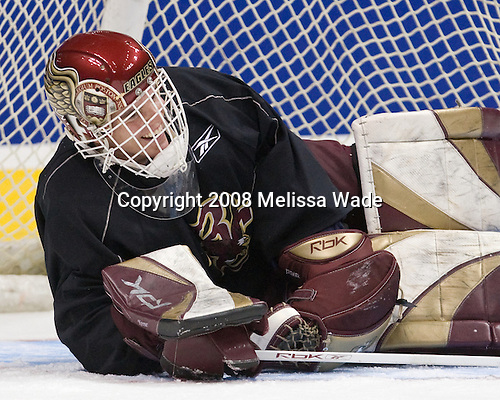 Alex Kremer (BC 29) - The Boston College Eagles practiced on Friday, April 11, 2008, at the Pepsi Center in Denver, Colorado, in preparation for the 2008 Frozen Four Final (NCAA D1 national hockey championship game) being played the following day.  Boston College had made the Final for the third year in a row.