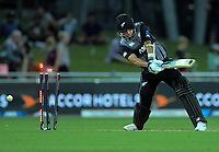 New Zealand's Trent Boult is bowled by Chris Jordan during the 4th Twenty20 International cricket match between NZ Black Caps and England at McLean Park in Napier, New Zealand on Friday, 8 November 2019. Photo: Dave Lintott / lintottphoto.co.nz