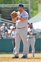 Alex Panteliodis (17) of the Binghamton Mets pitches during a game against the New Britain Rock Cats at New Britain Stadium on June 1, 2014 in New Britain, Connecticut.  New Britain defeated Binghamton 6-1.  (Gregory Vasil/Four Seam Images)