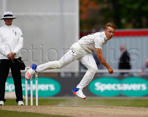 23.05.2016. Old Trafford, Manchester, England. Supersavers County Championship. Lancashire versus Surrey. Surrey all-rounder Tom Curran bowls as Lancashire reach 90-0 at lunch.